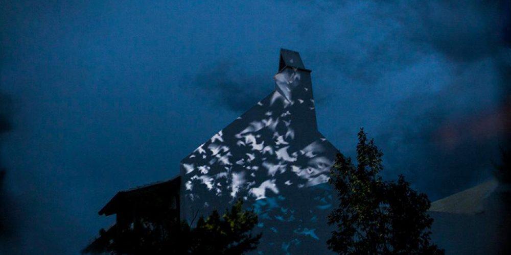 &#8220;Flight of Memory&#8221; by Victoria Febrer &#038; Pedro J. Padilla projected at <i>Digital Graffiti</i> Festival